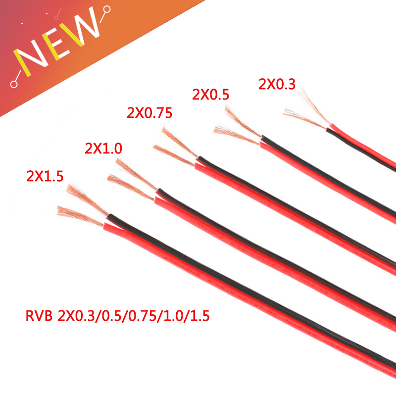 1 Meter RVB <font><b>Cable</b></font> Electrico Copper Rubber LED Wire Red Black <font><b>2Pin</b></font> Insulated Extend Cord Car Audio <font><b>Cable</b></font> Speaker Wire <font><b>Cable</b></font> PVC image