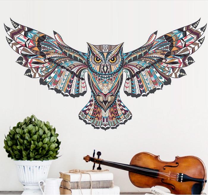 Cartoon Owl Eagle Hawk Tatoo Wall Sticker Home Decoration Nursery Room Wall Decals For Kids Room Wallpaper Wall Art Wall Decals