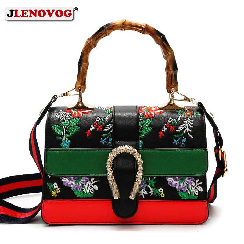 8f09c506b6 Women s Fake Designer Bamboo Handbag Female Luxury Floral Embroidery  Shoulder Bags for Women 2019 Spring New
