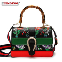 Women's Fake Designer Bamboo Handbag Female Luxury Floral Embroidery Shoulder Bags for Women 2019 Spring New Handbags and Purse