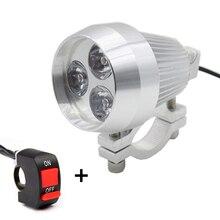 1pcs Aluminum LED Motorcycle Headlight Moto Daylight Spot Light HeadLamp Motorbike Driving Spot Head Light Lamp with Switch