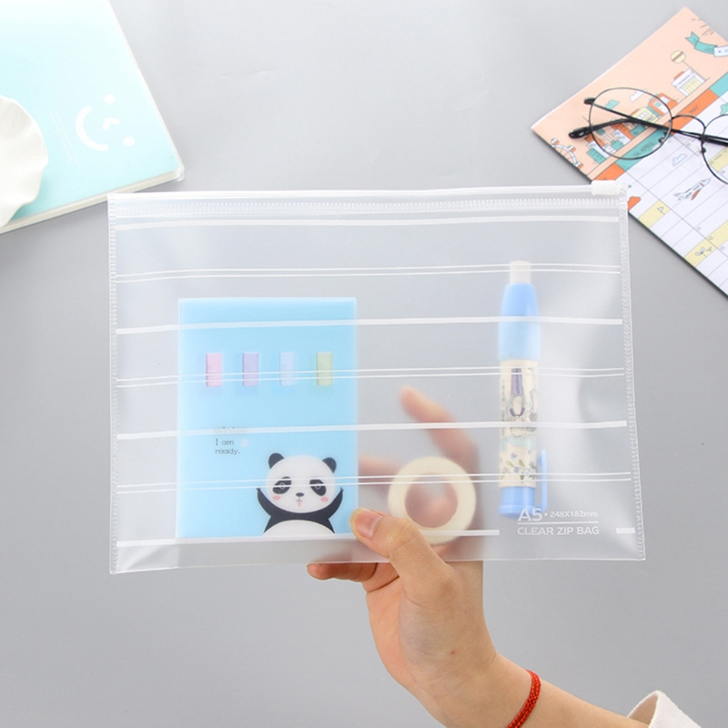 PVC A4 A5 Clear Transparent Plastic Waterproof Stationery Case Zipper Bag Pouch