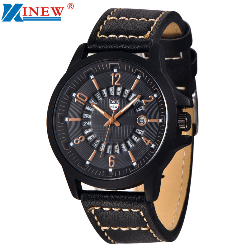 Relojes Watch XINEW Brand Fashion Men's Leather Band Watches Military Sport Analog Quartz Date Wristwatch High Quality xinew fashion luxury man watches xinew men s leather band watches military sport analog quartz date wrist watch for men feida