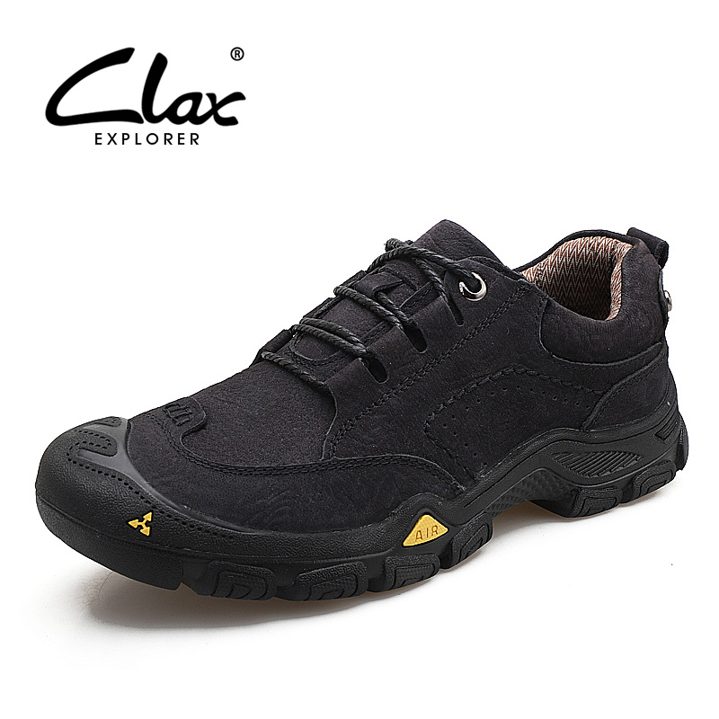 CLAX Men Leather Boots Genuine Leather Spring Autumn Casual Shoe Male safety shoes Work Boot Soft chaussure homme Walking Shoe цена