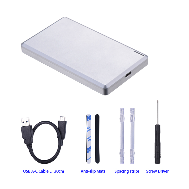Single bay 2.5 inch sata to USB3.1 Type-c external hdd enclosure with CNC aluminum casing with 10Gbps hdd case yottamaster hdd enclosure sata to usb type c 2 5 inch hdd case external hard drive box support raid for 2 5 inch 7 15mm hdd