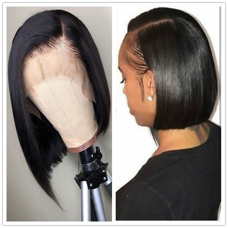 Side Part 13x6 Lace Front Human Hair Short Bob Wigs Blunt Cut Preplucked Black Straight Front Lace Wig For Women Bleached Knots