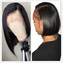 Side Part 13x6 Lace Front Human Hair Short Bob Wigs Blunt Cu