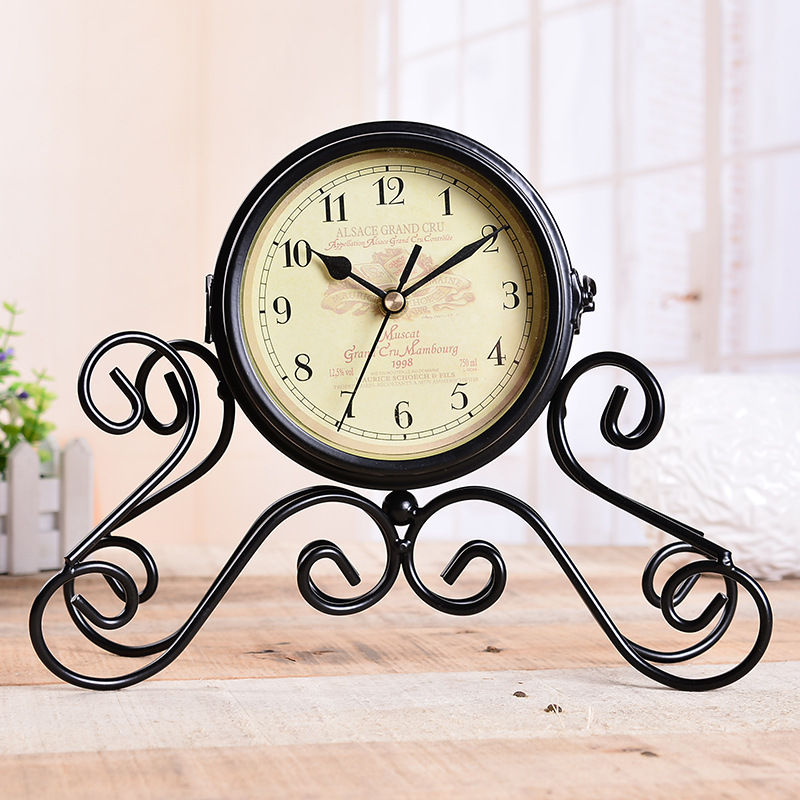 TUDA Free Shipping 8inch Vintage Design Double Sides Table Clock Romantic Exquisite Desk Clock for Living Room Home Decor Clock