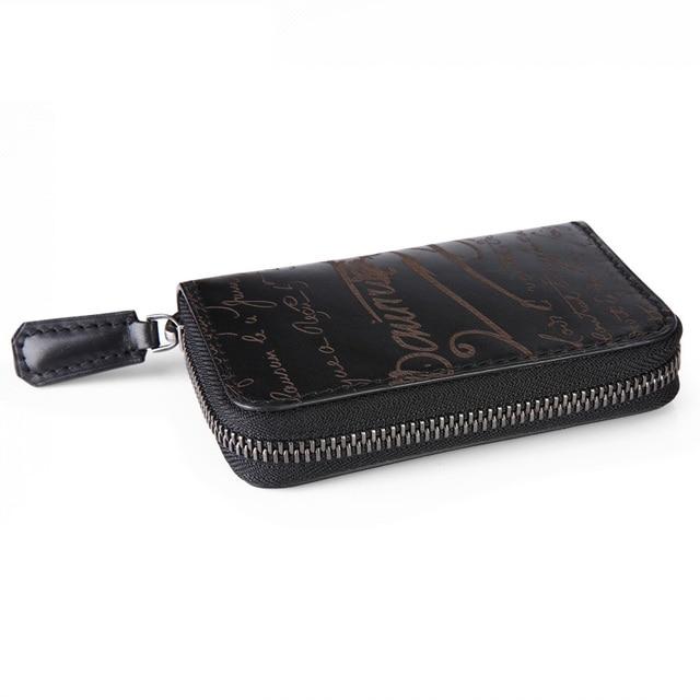 TERSE_100% genuine leather handmade engraving key wallet zipper luxury with card holder in black/ purple/ burgundy OEM ODM