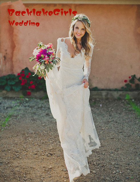 Lace Elegant V Neck Open Back White Long Sleeve Wedding Dress Custom Made Mermaid 2018 Boho