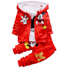 Children Kids Cartoon Donald Duck Minnie Mickey Clothes Suits Baby Boys Girls Hooded Jacket T Shirt Pants Sport Clothing Sets