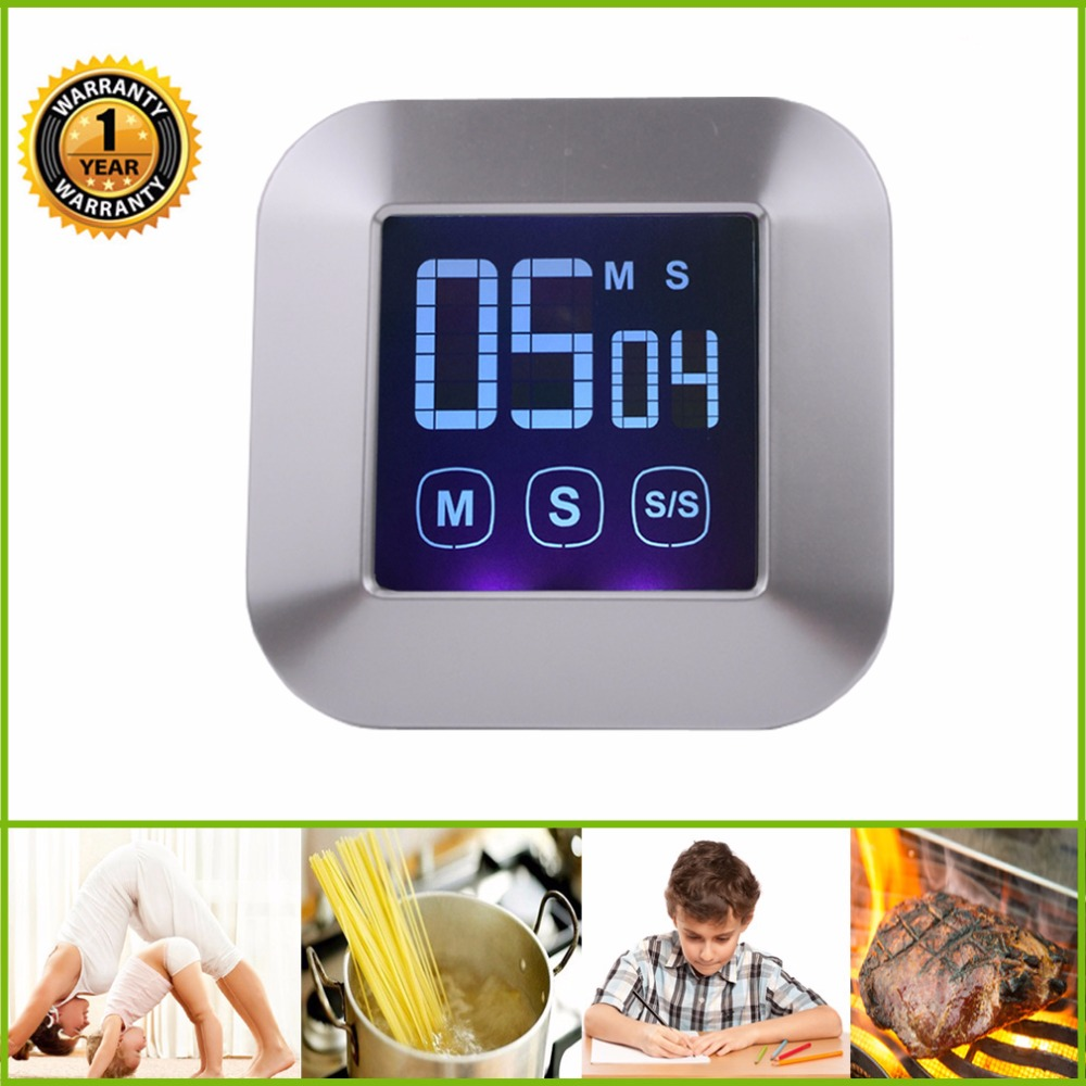 Touch Screen Digital Kitchen Timer Counter Loud Alarm Clock Magnetic Back White In Timers From Home Garden On
