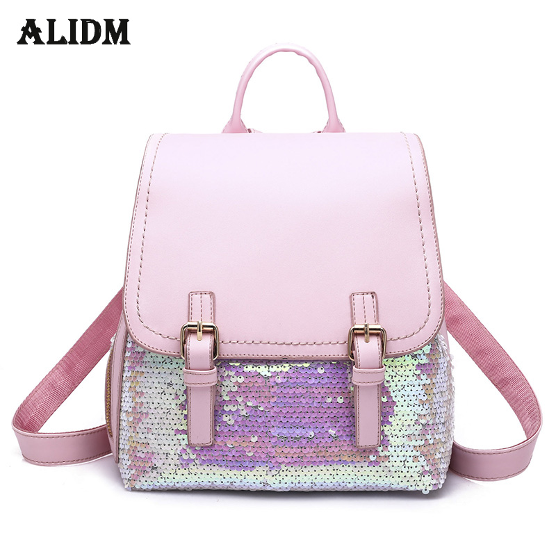 Fashion Sequins Backpacks For Teenage Girls Double Belt Women Back Pack Bag High Quality Pu Leather Backpack Mochila Sac a dos