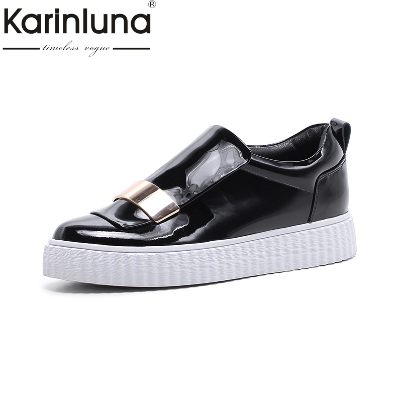 Karinluna 2018 Top Quality Genuine Leather Spring Flats Shoes Woman White Casual Loafers Women Shoes Footwear Cow Leather цена и фото