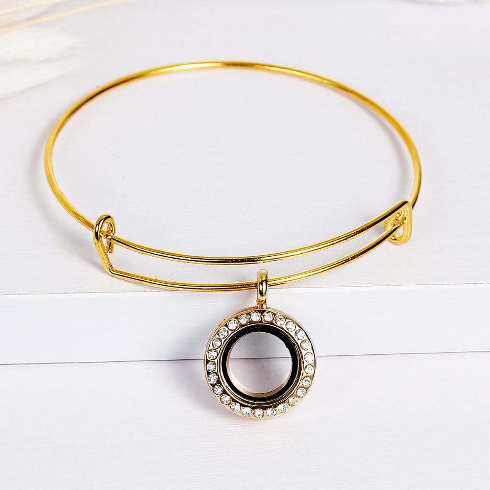 DoreenBeads Living Memory Glass Locket Expandable Bangles Bracelet Double Bar Gold color Round Pendant Can Open 21cm, 1 Piece