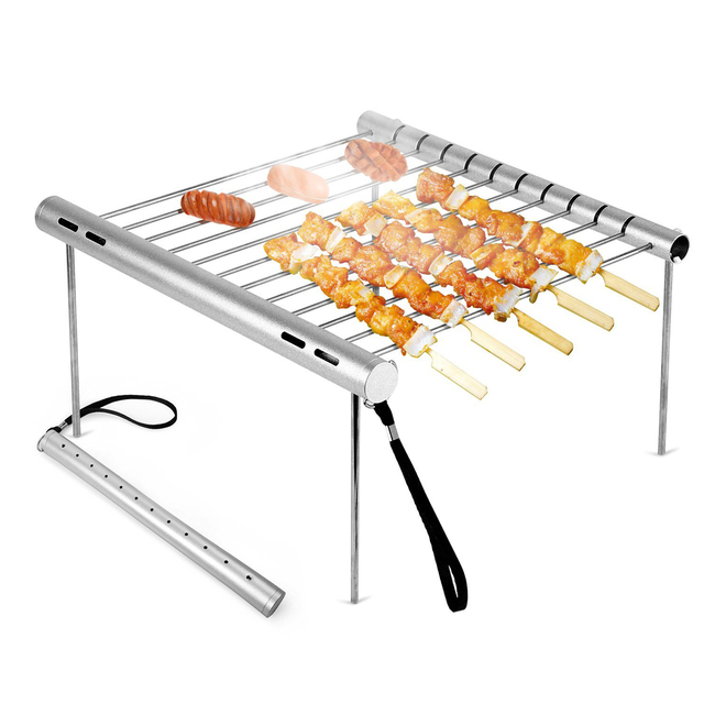 1 set Portatile di Campeggio Grill-un peso leggero Multi-funzione Universale Acc