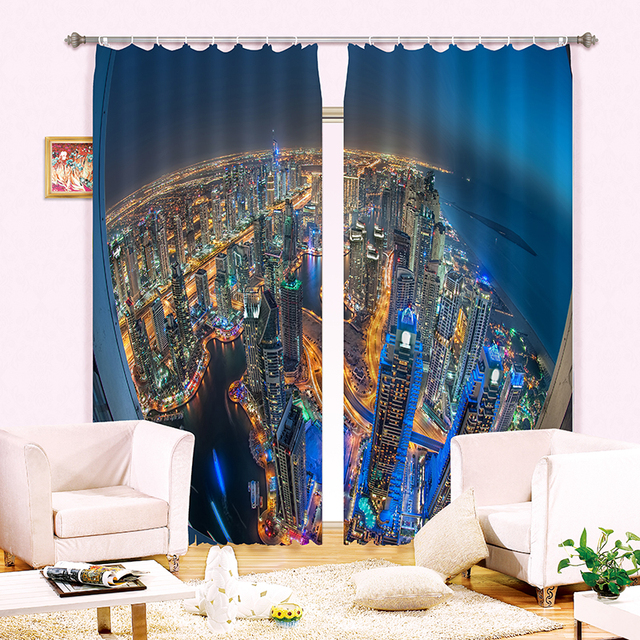 Rideaux occultants pour salon | Nouveau tissu dombre, lumière ville 3D, fenêtre dimpression de photos, rideaux pour chambre à coucher, rideaux dhôtel, Textiles de maison