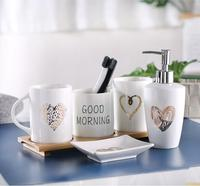 Household items ceramic couples mouth cup bathroom set lotion bottle soap box toothbrush bathroom accessories