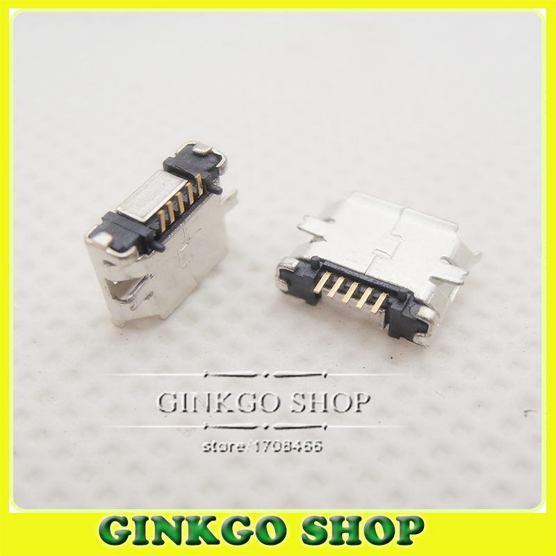 200pcs Micro usb connector Female Connector B type Charge Port Socket for Smart mobile phone Tablet PC