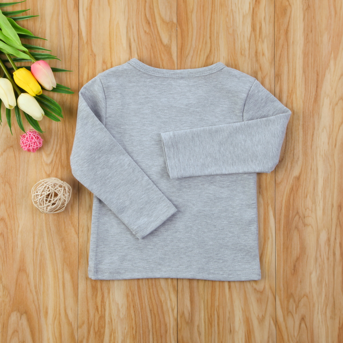 Autumn Cotton Newborn Infant Kids Baby Boys Girls Clothes Solid Cotton Soft Clothing Long Sleeves T-shirt Tops 6