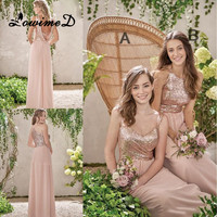 Rose Gold Sequins Bridesmaid Dresses 2017 New Robe De Marigee Sleeveless Long Chiffon Backless Formal Party