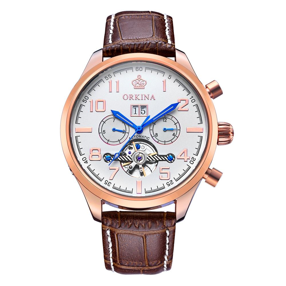 ORKINA classique jour Date calendrier automatique Tourbillon marron bracelet cuir analogique Homme mécanique Montre or Rose Montre Homme