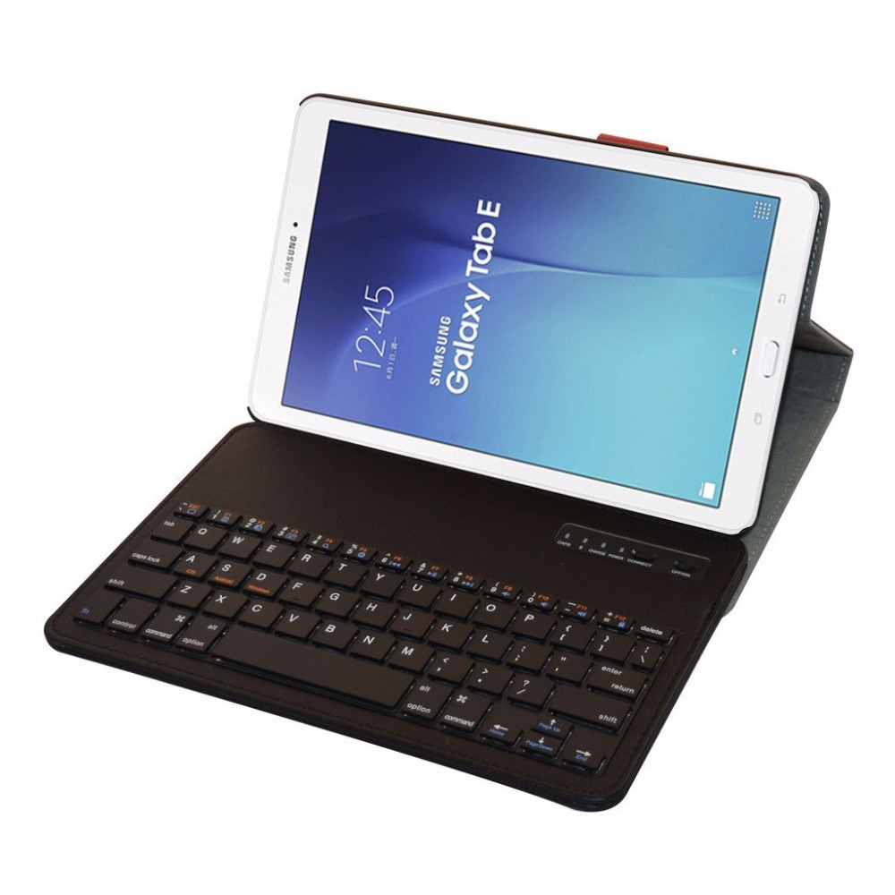 removable bluetooth keyboard leather case cover for samsung galaxy tab e 9 6 e nook 9 6 t560. Black Bedroom Furniture Sets. Home Design Ideas