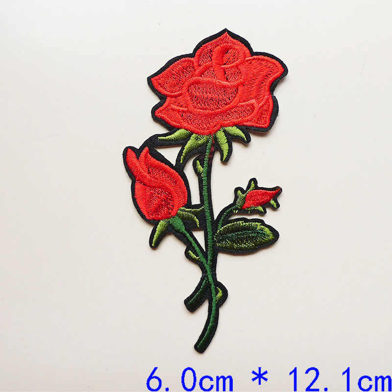 1Pcs Rose Flower Hot Melt Embroidery Iron on Patches for Clothing DIY Jeans Bag Sticker Applique Badges Sewing Dress Accessories