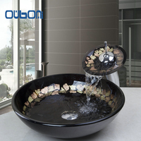 Good Quality Victory Hand Paint Washbasin Tempered Glass Basin Sink With Brass Faucet Tempered Glass Bathroom
