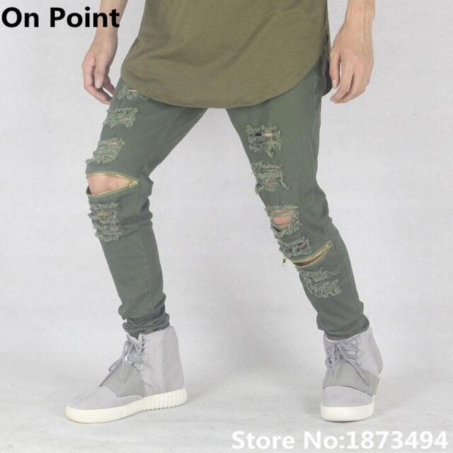 edeea77cd4 Apenada ripped jeans para hombre flaco verde oliva delgado famosos marca  diseñador