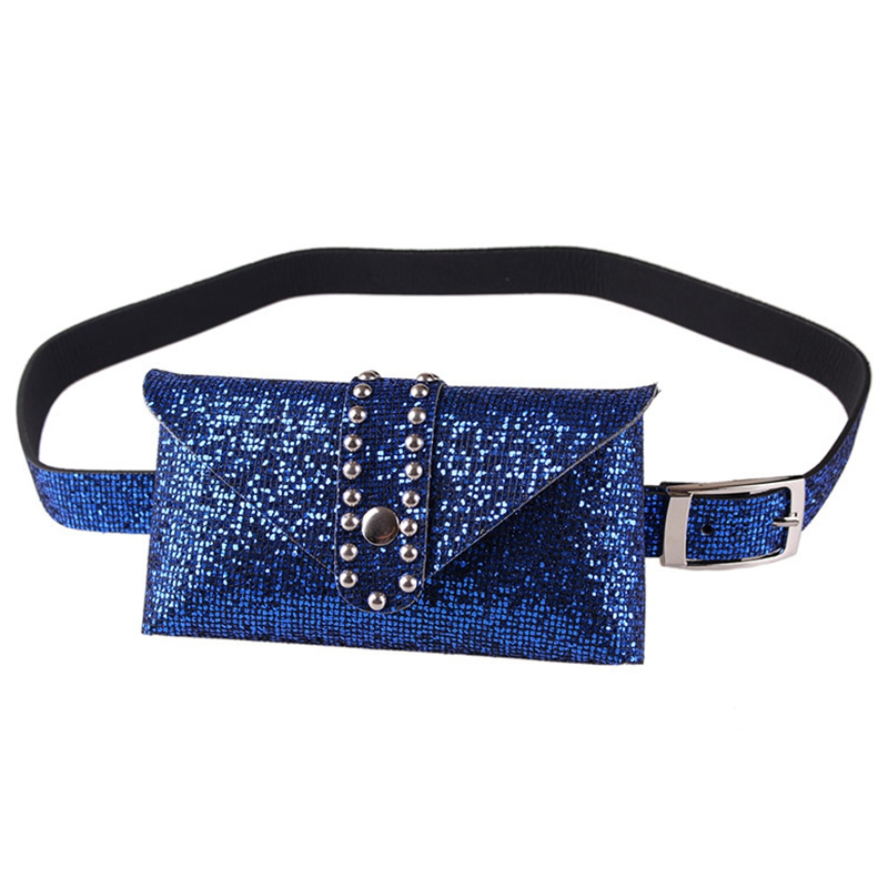 New Women Spring And Summer Casual Fashion Sequins Metal Buckle Mobile Phone Pockets Detachable Belt