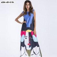 Sleeveless Beauty Girl Printing Long Maxi Dress 2017 Autumn Winter Tank Sundress Loose Ukraine Party Dress