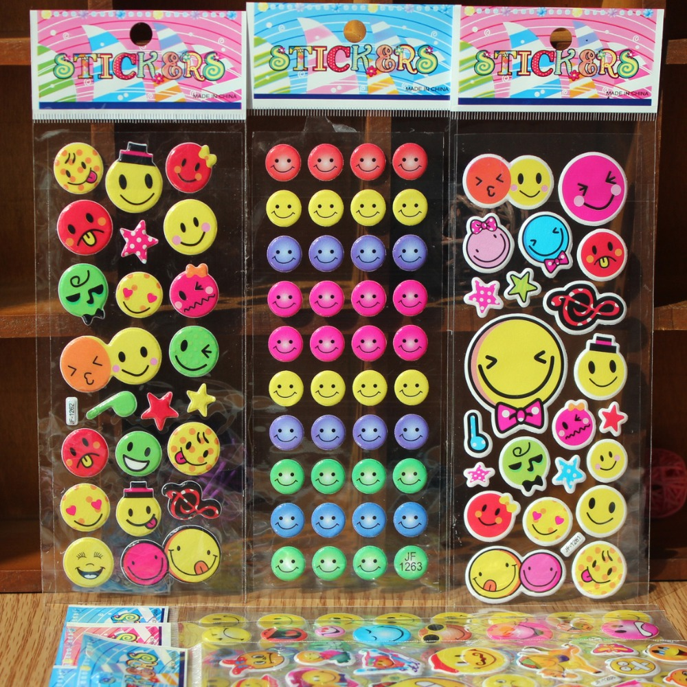 wholesale 20pcs Fashion Brand Kids Toys Cartoon Emoji Smile face Expression 3D Stickers Children PVC Stickers Bubble Stickers