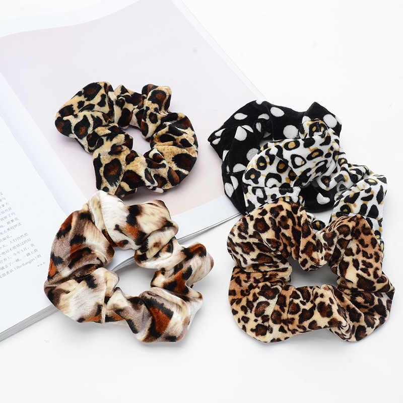 Женские леопардовые аксессуары в Корейском стиле в полоску с хвостом для волос, женские кольца, бархатные резинки для волос, держатель для конского хвоста