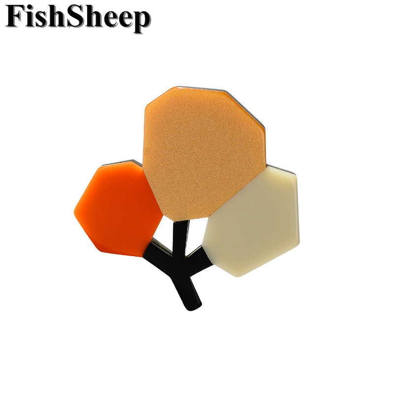 FishSheep 2018 Fashion Acrylic Flower Brooch For Women Elegant Colorful Plants Tree Weddings Brooches Pins Party Banquet Gifts