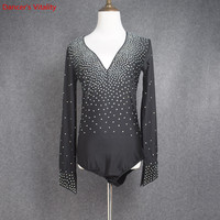 New men's Latin dance costumes sexy spandex stones long sleeves latin dance shirt for men's latin dance shirts xs 6xl 0011