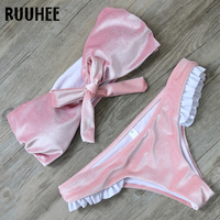 RUUHEE Bikini Swimwear Women Swimsuit 2017 Bikini Set Pink Velvet Bathing Suit Brand Beachwear Push Up