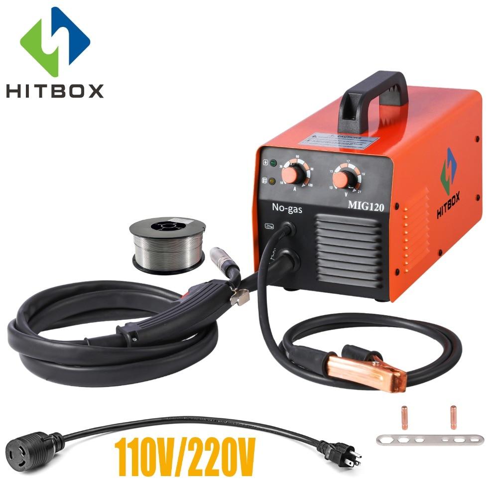 HITBOX Mig soudeur 220V pas de gaz acier soudage Machine Flux fourré fil MIG1200 onduleur soudage Machines usage domestique outil Mig soudage