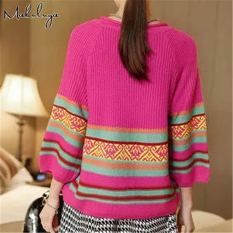 Makuluya Women Sweater Cardigan Spring Autumn Shirt Shawl Thin Knitwear Coats Solid Color Female Striped Vintage QW