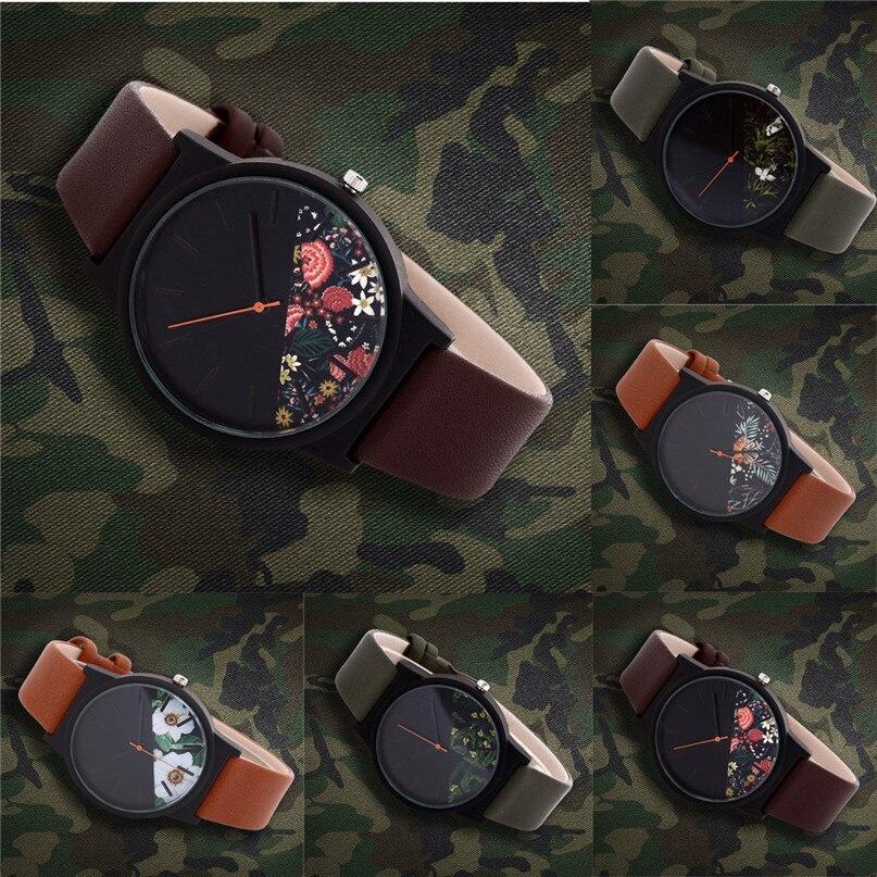 New Vintage Leather men Watches 2018 Luxury Top Brand Floral Pattern Casual Quartz Watch men Clock Relogio Feminino Gift #4M04