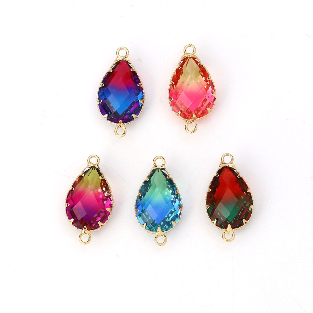 DoreenBeads Copper & Glass Connectors Drop Gold Fuchsia Colorful Faceted Romantic Jewelry DIY Charm 26mm X14mm- 25mm X13mm, 2PCs