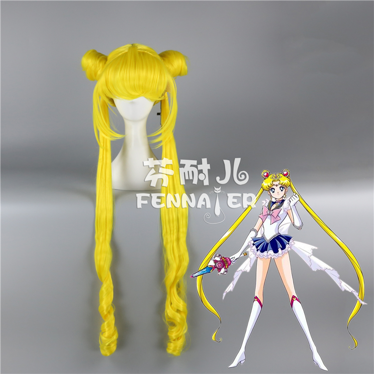90cm Tsukino Usagi yellow wig Sailor Moon Girl  Long Yellow Ponytails Cosplay Hair Full Wigs free shipping