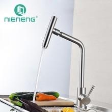 Nieneng Новый Дизайн краны 360 Поворотный щеткой Нержавеющая сталь горячей и холодной смеситель для мойки питьевой Кухня кран ICD60327