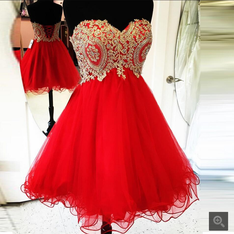2016 New Arrival Red Tulle A Line Short Prom Dress Strapless Lace Appliques Beaded Petite Prom Gowns Best Selling Prom Dresses
