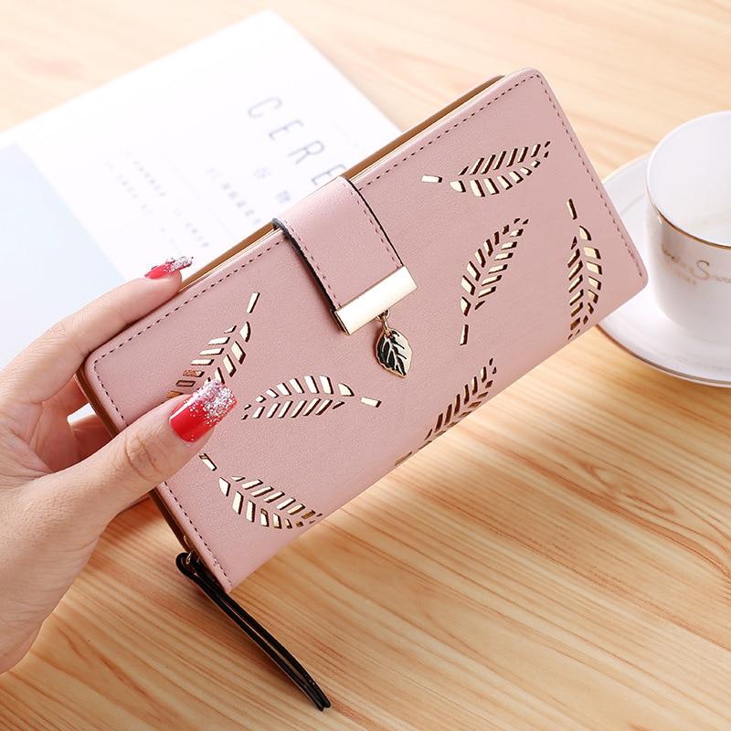 Aosbos 2019 Women Wallet Purse Female Long Wallet Gold Hollow Leaves Pouch Handbag For Women Coin Purse Card Holders Clutch Bag