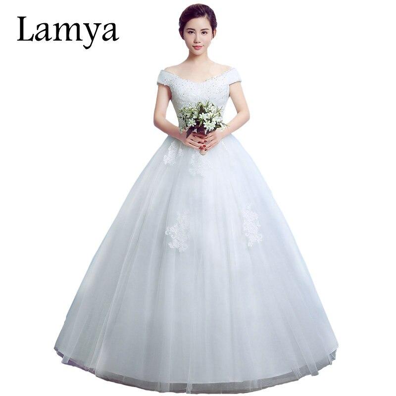 Romantic Wedding Dresses 2019: LAMYA Real Photo Big V Neck 2019 Romantic Lace Wedding