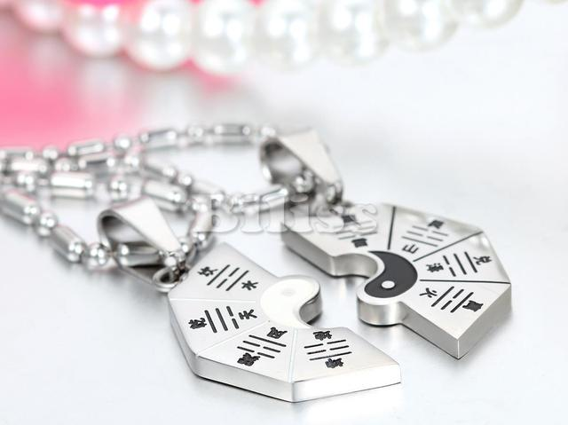 2 pieces Fashion Couple Necklaces Yin Yang Bagua Pendant 316L Stainless Steel 2 Chains For Men Women Gold Silver Color