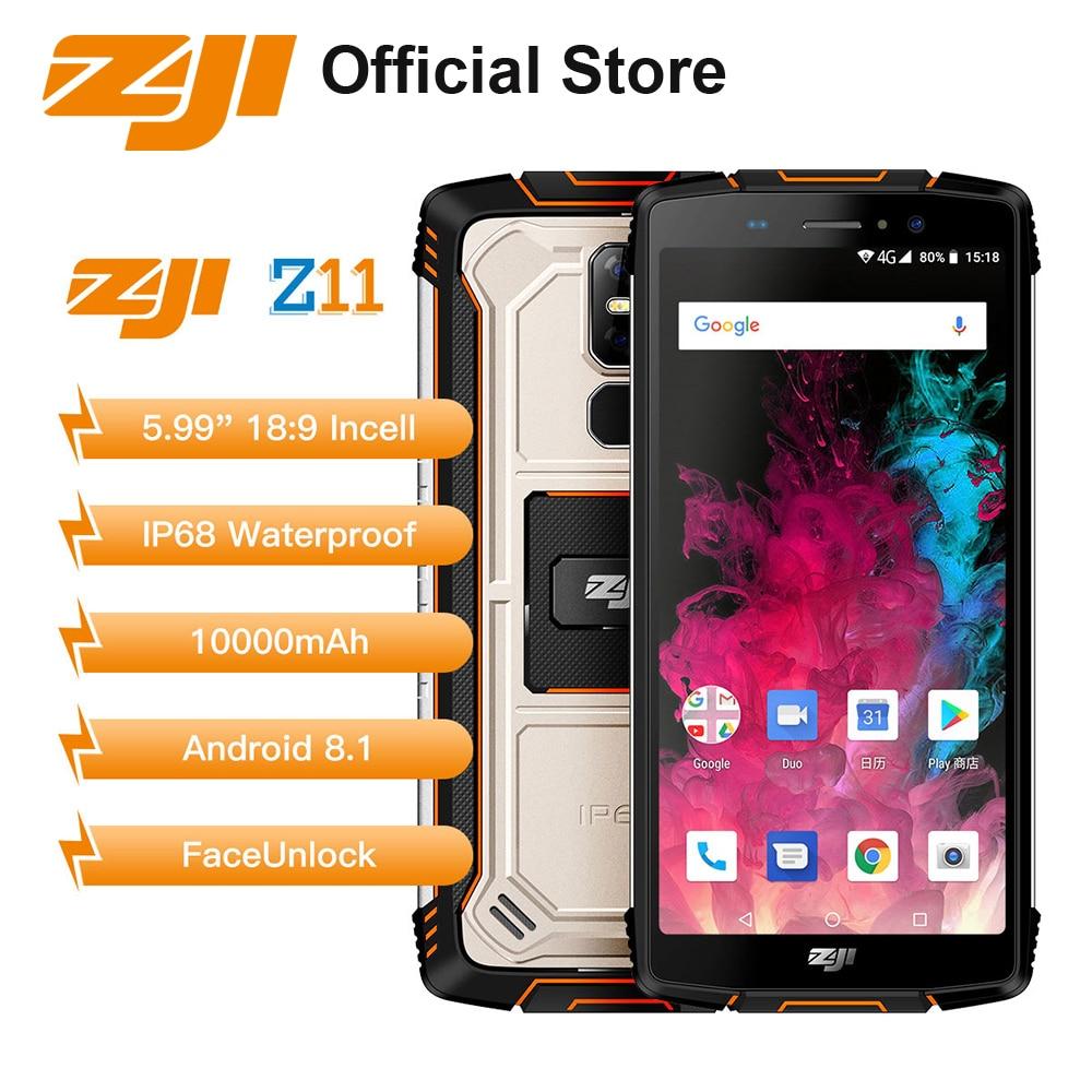 ホームゾジZ11 10000 mah 4ギガバイト64ギガバイト5.99インチ頑丈な携帯電話ip68防水18:9アンドロイド8.1 16mpフェイスロック解除4 gスマートフォン携帯電話