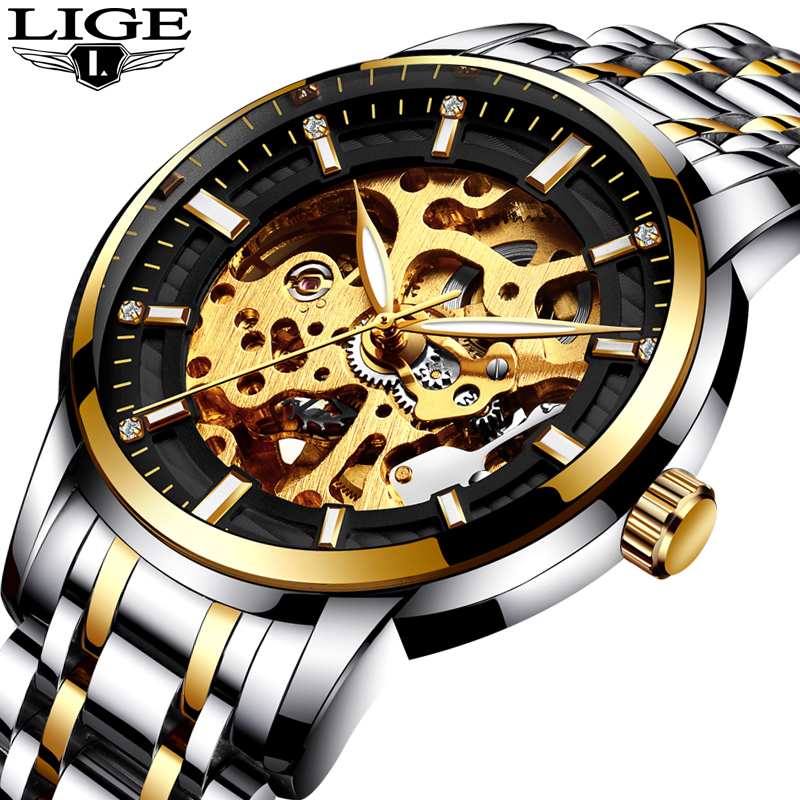 Mens Watches Top Brand LIGE Luxury Automatic Mechanical Watch Men Steel Full Business Waterproof Sport Watches Relogio Masculino men watches lige top brand luxury men s sports waterproof mechanical watch man full steel military automatic wrist watch relojes