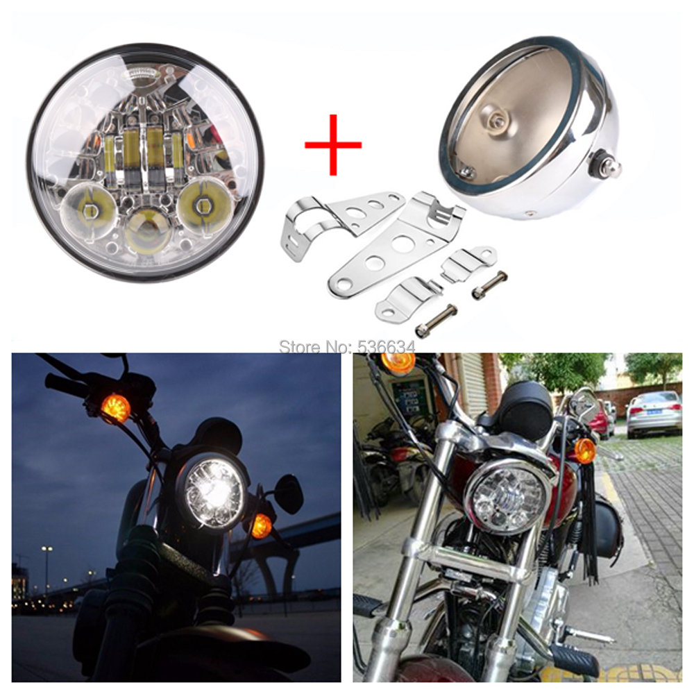 5.75 Round Headlight Projector Daymaker Hi/Low Beam DRL Turn Lights+Led Headlight Housing For 2007-2016 Harley Dyna Street Bob